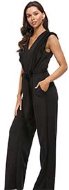 KarenT-19262-Black - Sleeveless Ladies Jumpsuit With Ruffle Trim And Sash