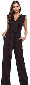 KarenT-19262-Plum - Sleeveless Ladies Jumpsuit With Ruffle Trim And Sash