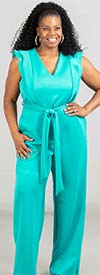 KarenT-19262-Turquoise - Sleeveless Ladies Jumpsuit With Ruffle Trim And Sash