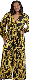 KarenT-2016-GoldLink - Printed Longsleeve Wide Leg Mock Wrap Womens Jumpsuit With Sash