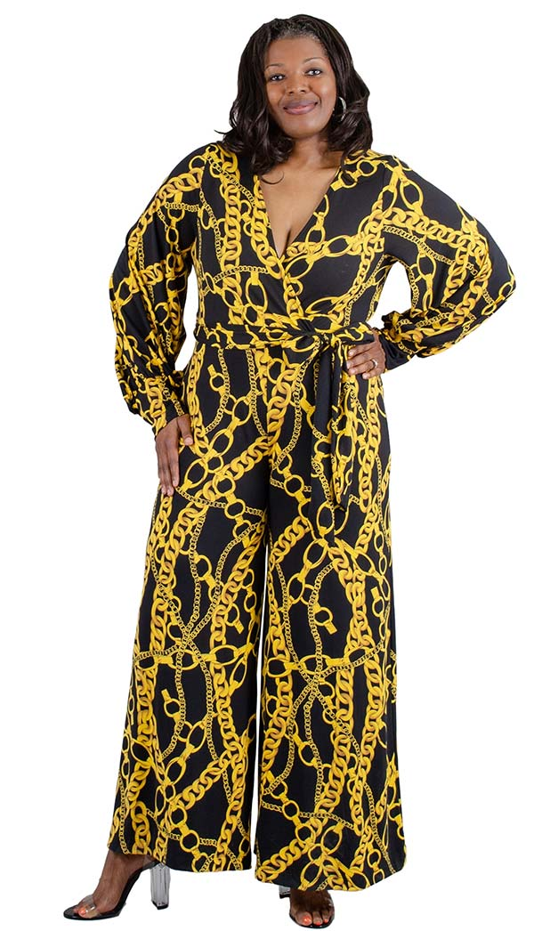 KarenT-2016-GoldLink - Printed Longsleeve Wide Leg Mock Wrap Womens Jumpsuit With Sash
