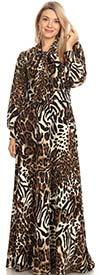 KarenT-2050-Animal - Print Maxi Dress With Bow Adorned Neckline