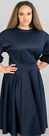 KarenT-2067 - Pleated A-Line Dress With Gathered Cuff Dolman Sleeve Design