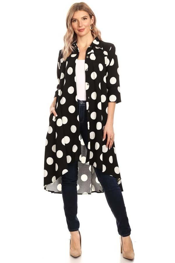 KarenT-5029-BlackWhiteDot - High-Low Womens Button Front Polka Dot Print Top