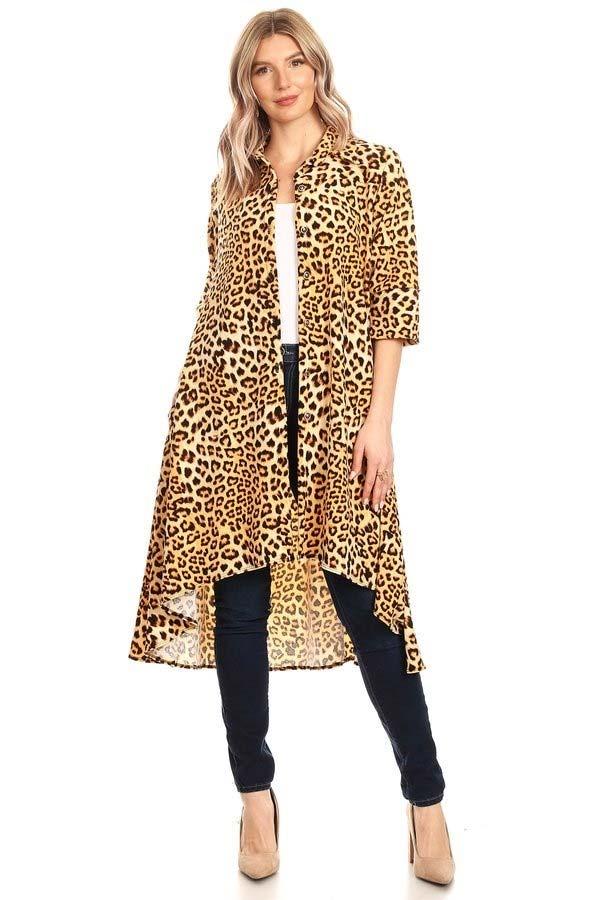 KarenT-5029-Cheetah - High-Low Womens Button Front Animal Print Top