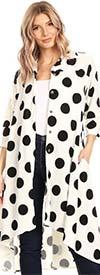 KarenT-5029-WhiteBlackDot - High-Low Womens Button Front Polka Dot Print Top