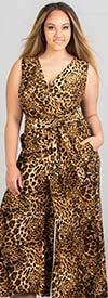 KarenT-5057-Animal - Printed Wide Leg Mock Wrap Sleeveless Womens Jumpsuit With Sash