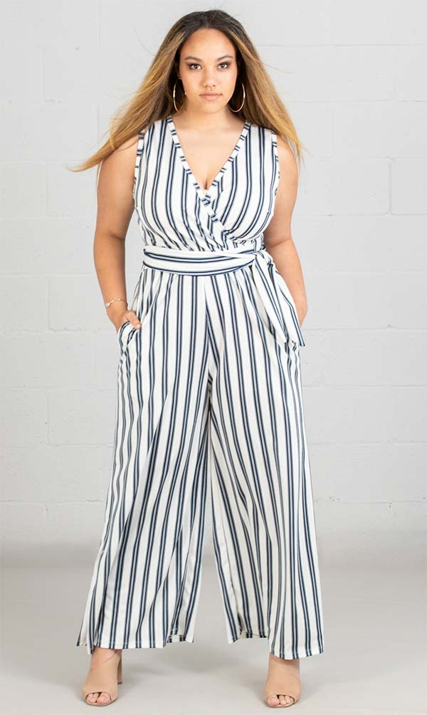 KarenT-5057-WhiteNavy - Striped Wide Leg Mock Wrap Sleeveless Womens Jumpsuit With Sash