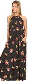KarenT 5079-BlackRed- Halter Style Floral Print Ladies Dress With Pockets