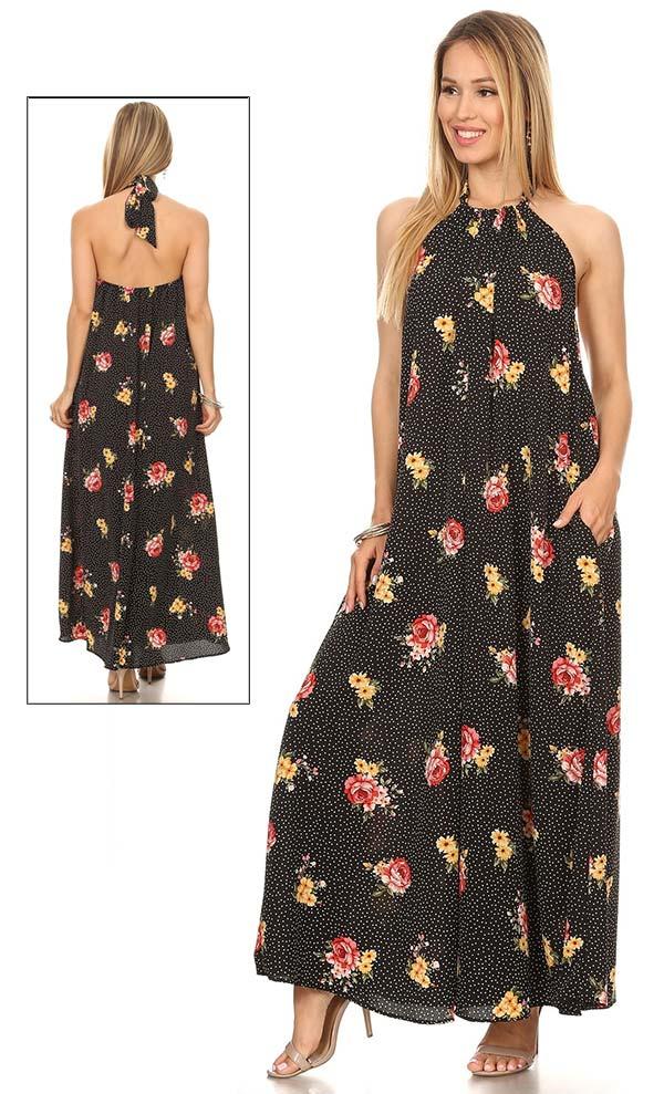 KarenT 5079-BlackRed- Halter Style Floral Print Ladies Dress With Pockets