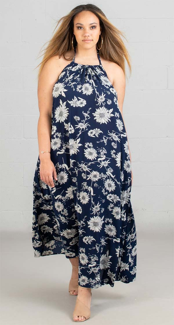 KarenT 5079-WhiteNavy- Halter Style Floral Print Ladies Dress With Pockets