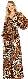 KarenT-6016-Animal Print - Longsleeve Vee-Neckline Wide-Leg Womens Jumpsuit With Sash