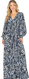 KarenT-6016-Blue Print - Longsleeve Vee-Neckline Wide-Leg Womens Jumpsuit With Sash