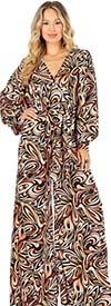 KarenT-6016-Orange Print - Longsleeve Vee-Neckline Wide-Leg Womens Jumpsuit With Sash