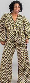KarenT-6016-Yellow Print - Longsleeve Vee-Neckline Wide-Leg Womens Jumpsuit With Sash