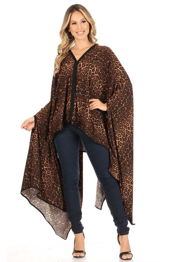 KarenT-69006-Animal - Womens Printed Poncho Top With Black Trim