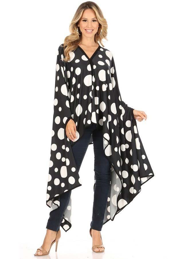 KarenT-69006-BlackWhiteDot - Womens Polka Dot Print Poncho Top With Black Trim