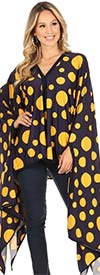 KarenT-69006-NavyMustardDot - Womens Polka Dot Print Poncho Top With Black Trim