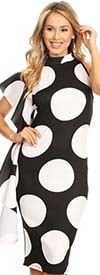 KarenT-7009-BlackWhite - Womens Polka Dot Print Sleeveless Dress With Side Ruffle Feature