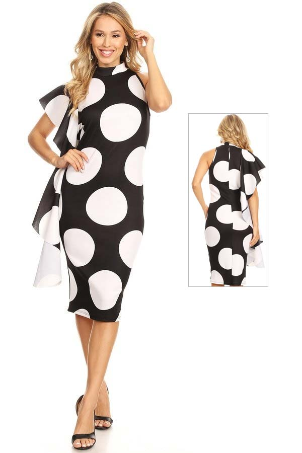 KarenT-7009-BlackWhite - Womens Polka Dot Print Sleeveless Dress With Side Ruffle Feature