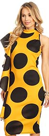 KarenT-7009-MustardBlack - Womens Polka Dot Print Sleeveless Dress With Side Ruffle Feature