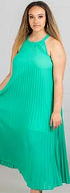 KarenT-7016-Emerald - Pleated Ladies Halter Style Maxi Dress