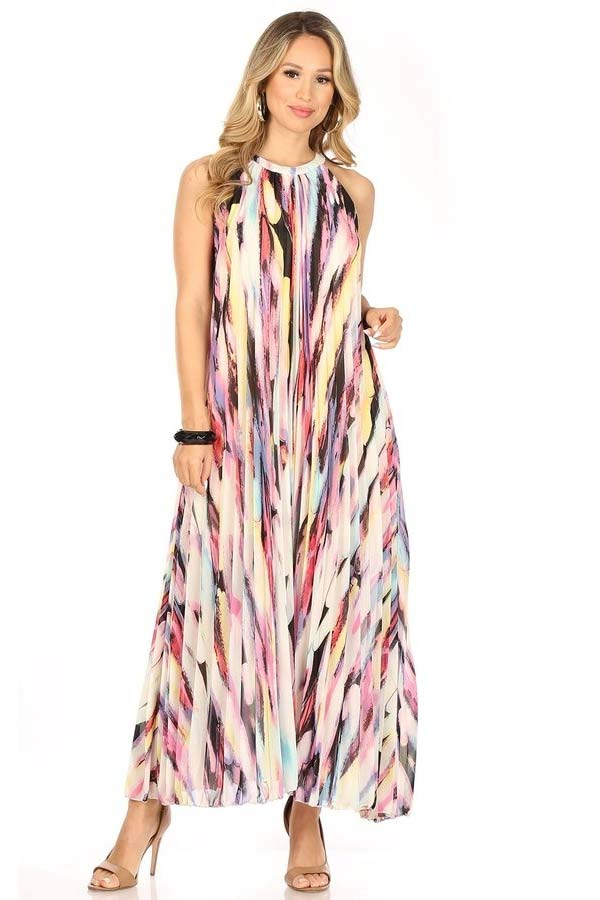 KarenT-7016-PinkMulti - Pleated Ladies Halter Style Maxi Dress