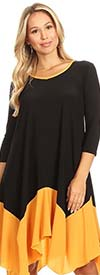 KarenT-8002-BlackGold - Womens Sheer Tunic Top With Sharkbite Style Hem