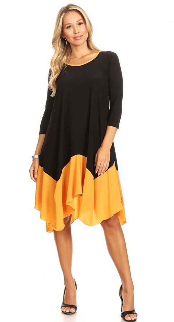 KarenT-8002-BlackGold - Womens Sheer Tunic Top With Sharkbite Style Hem