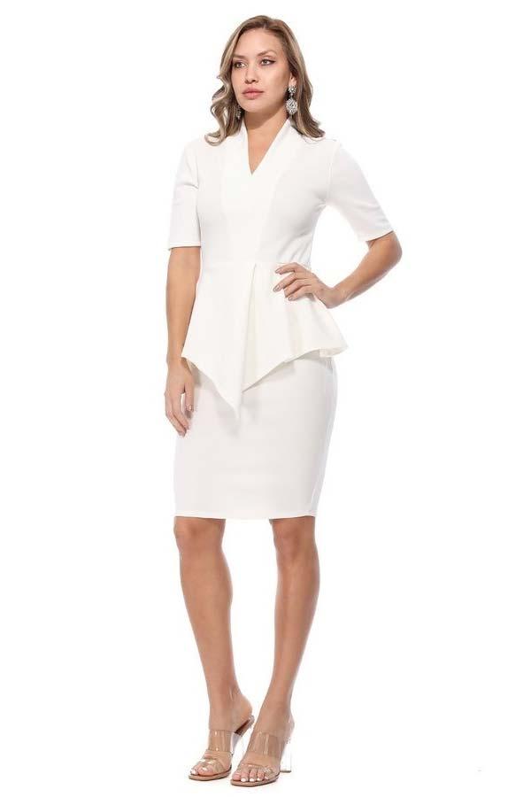 KarenT-8006SS-OffWhite - Womens V-Neck Dress With Peplum Waistline Detail