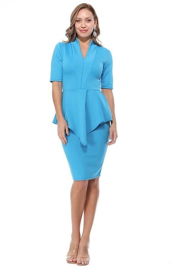 KarenT-8006SS-Turquoise - Womens V-Neck Dress With Peplum Waistline Detail