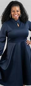 KarenT-8010-Navy - Cuff Sleeve A-line Dress With Keyhole Front And Tie Back