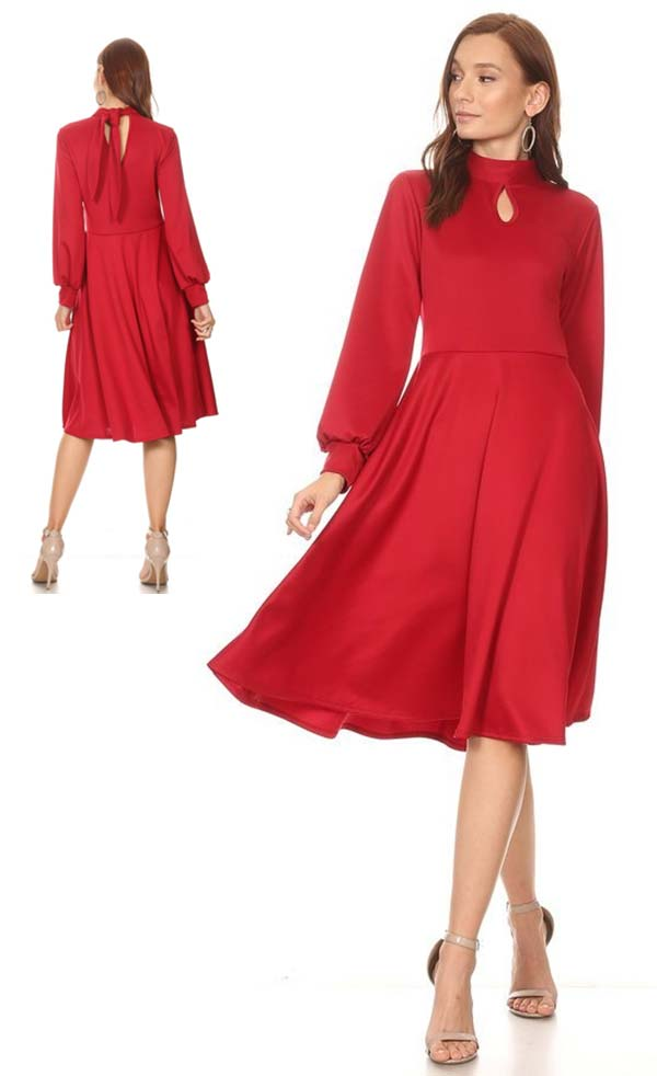 KarenT-8010-Red - Cuff Sleeve A-line Dress With Keyhole Front And Tie Back