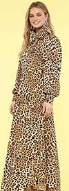 KarenT-8011-Cheetah - Animal Print Puff Sleeve Womens Flair Dress With Big Removable Bow