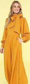 KarenT-8011-Mustard - Puff Sleeve Womens Flair Dress With Big Removable Bow