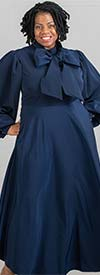 KarenT-8011-Navy - Puff Sleeve Womens Flair Dress With Big Removable Bow