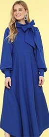 KarenT-8011-Royal - Puff Sleeve Womens Flair Dress With Big Removable Bow