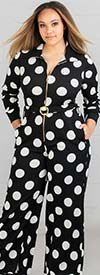 KarenT-8013 - Womens Polka-Dot Print Longsleeve Knit Jumpsuit With Belted Waist