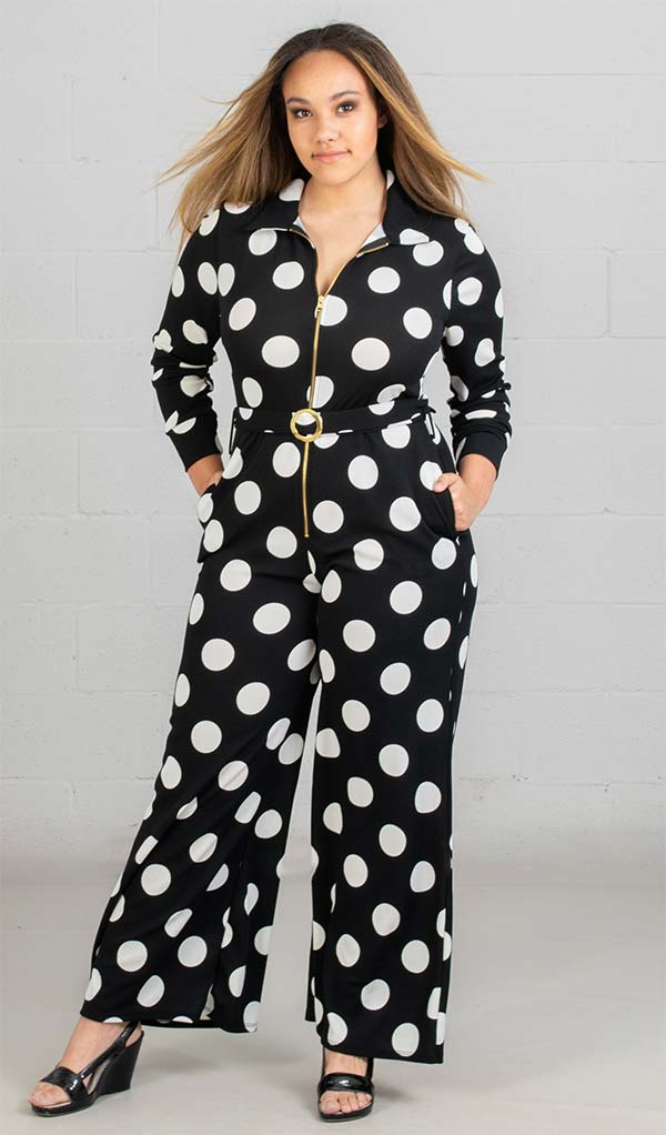 KarenT-8013 - Womens Polka-Dot Print Longsleeve Knit Jumpsuit With Belted Waist