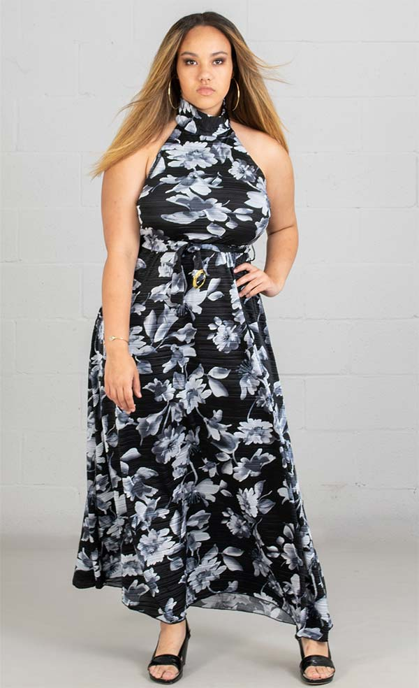 KarenT-8014-BlackWhite - Womens Pleated Print Knit Halter Maxi Dress With Belted Waist