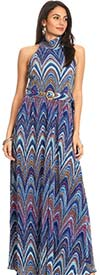 KarenT-8014-Multi - Womens Pleated Print Knit Halter Maxi Dress With Belted Waist