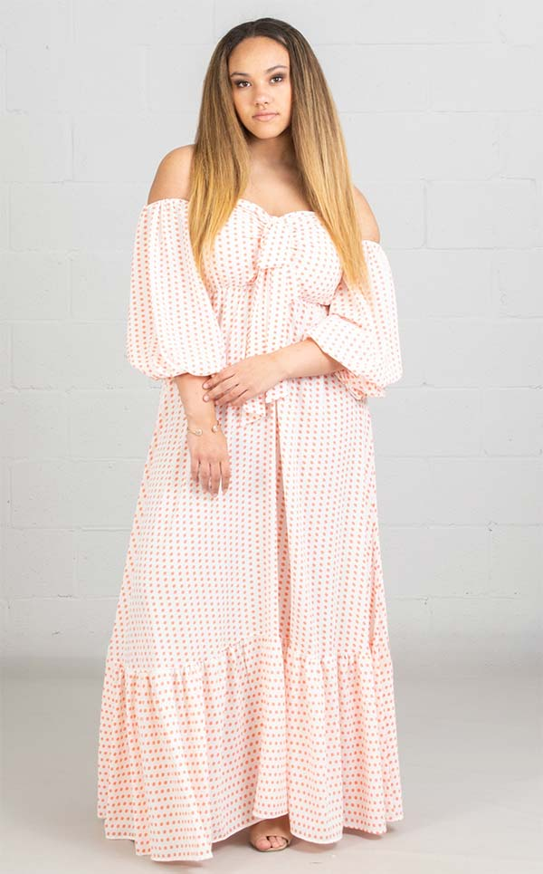 KarenT-8024-CoralWhite - Womens Polka-Dot Print Strapless Maxi (Long) Dress With Bow And Gathered Sleeve Cuffs