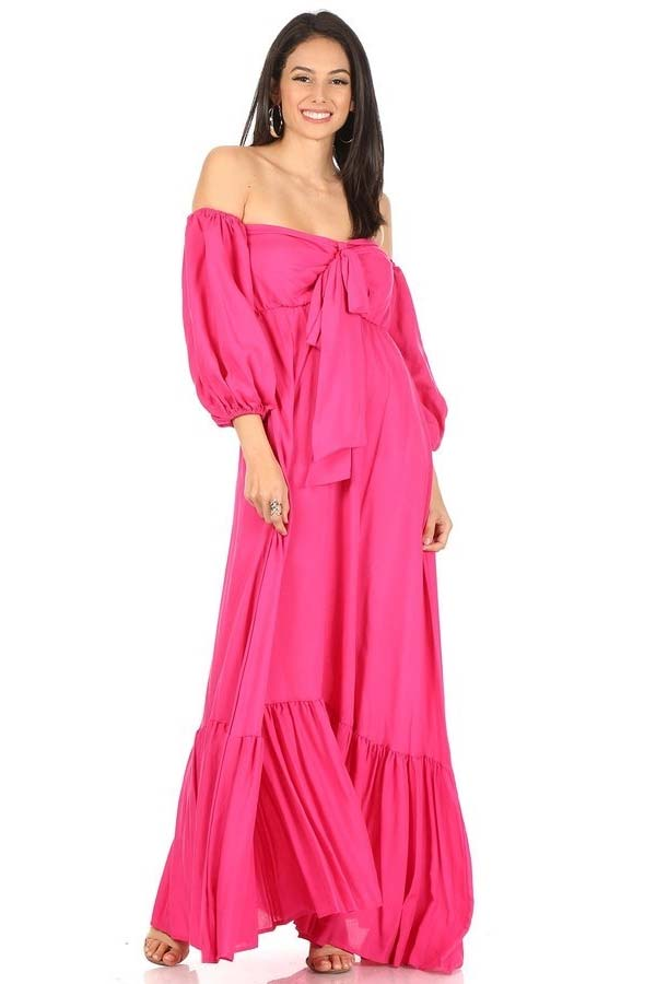 KarenT-8024-Fuchsia - Womens Strapless Maxi (Long) Dress With Bow And Gathered Sleeve Cuffs