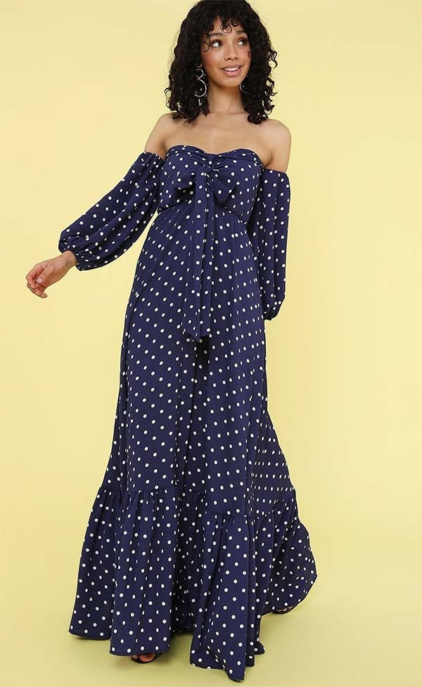 KarenT-8024-NavyWhite - Womens Polka-Dot Print Strapless Maxi (Long) Dress With Bow And Gathered Sleeve Cuffs