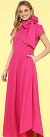 KarenT-8025 -Fuchsia - Short Sleeve Knit Womens Dress With Bow Neckline