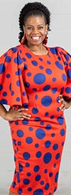 KarenT-8033-OrangeRoyal - Polka Dot Bell Sleeve Midi Dress
