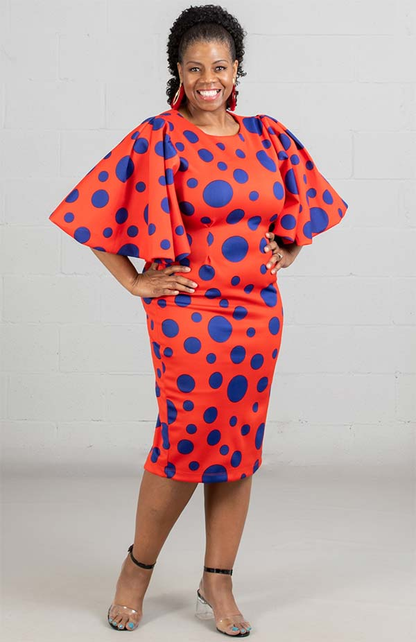 KarenT-8033-OrangeRoyal - Polka Dot Bell Sleeve Midi Dress