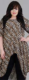 KarenT-896JP-Animal - Short Sleeve High-Low Printed Knit Womens Top