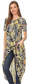 KarenT-896JP-Gold/Zebra - Short Sleeve High-Low Printed Knit Womens Top