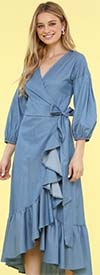 KarenT-9003-Denim - Womens Wrap Style Dress With Rufffle Trims